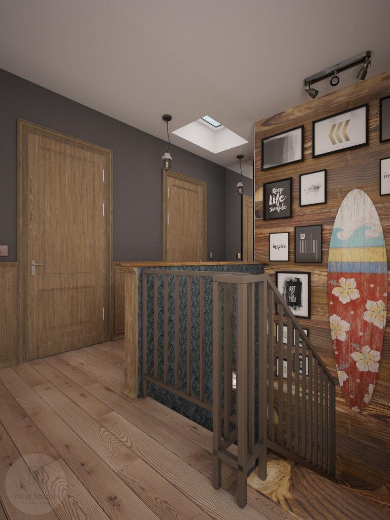 deska surfingowa, deski, zdjęcia, plakaty, klatka schodowa, boazeria