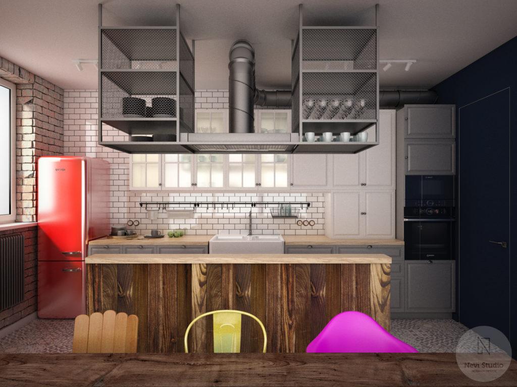 kuchnia, wyspa, okap,smeg, styl angielski, styl industrialny, ikea
