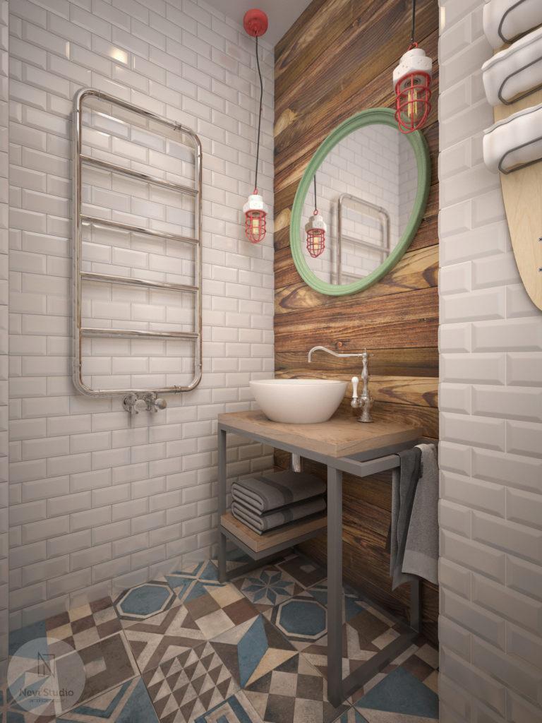 łazienka, styl industrialny, płytki cegiełki, patchwork, drewno, deski