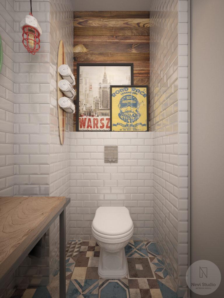 łazienka, plakaty, Warszawa, patchwork, styl industrialny